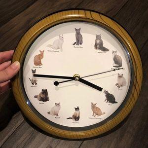 Plastic Cat Breed Wall Clock